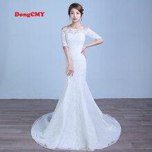 2017 nová příchozí bílá barva Mermaid Krajka svatební šaty