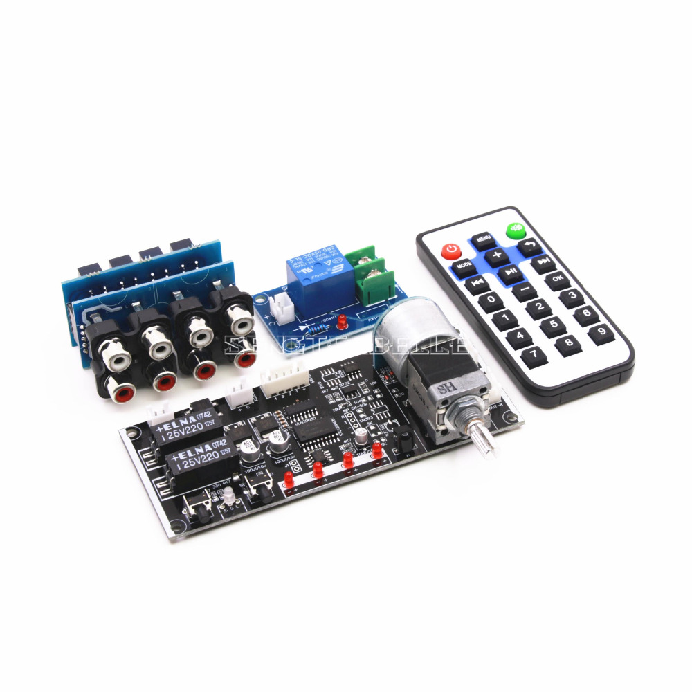 Intelligent Motor Volume Control Board Remote Control Preamplifier Audio Source Signal Selection Switch Board DIY