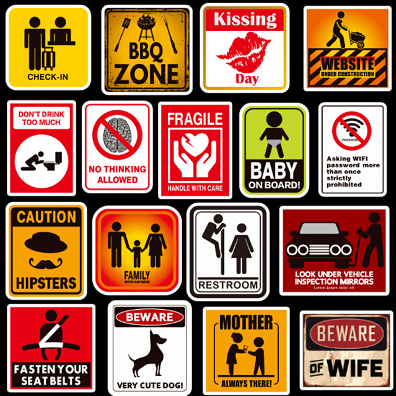 Amicable Banning Signs Stickers Warning Danger Reminder Waterproof Decal Sticker To Diy Car Laptop Suitcase Motorcycle Snowboard 50 Pcs Excellent (In) Quality