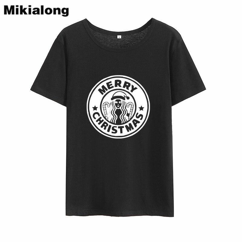Mikialong Merry Christmas Graphic Tee Shirt Femme 2018 Black White Cotton Funny T-shirt Women Loose O-neck Women Tshirt Top