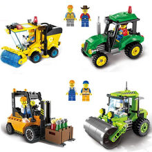 2018 Legoings City Construction Team DIY Building Blocks Toy Kit Tractor Roller Forklift Cleaner Truck Construction Bricks(China)