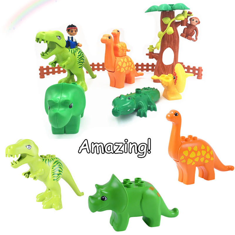 Single Sale Accessories Big Size Brick Compatible With L Brand Duploe Parts Jurassics Dinosaur Tyrannosaurus Triceratops 10880