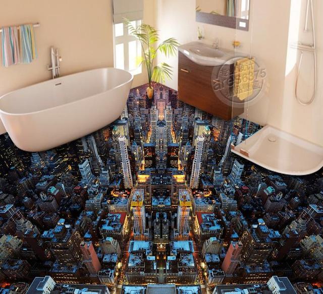 European dream City night view 3d flooring custom wallpapers for ...