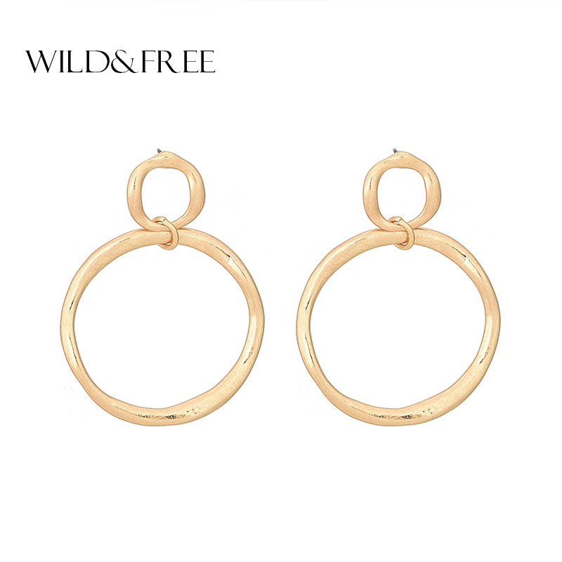 Wild&Free Street Style Large Big Geometry Double Round Circle Hoop Earrings for Women Gold Color Party Earrings Brincos Jewelry circle