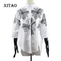 XITAO 2017 New Spring Korean Fashion Women Embroidered Flowers All Match Loose Turn Down Collar