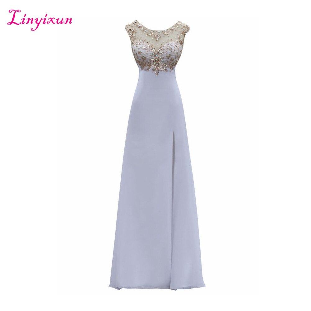 Linyixun Real Photo White vestido de festa Crystal   Prom     Dresses   2017 Sleeveless Appliques long Evening   Dresses   Robe de soiree