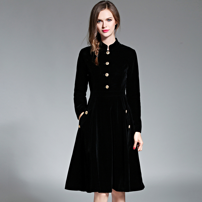 Black Vintage Dress Women Elegant Slim Long Sleeved Velvet