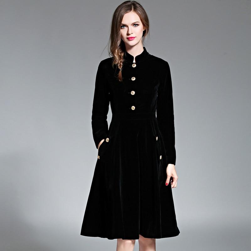 Black Vintage Dress Women Elegant Slim Long Sleeved Velvet Party Dress Ol Office Wear 2017 New Autumn Winter Long Robe Vestidos