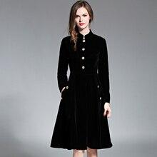 Black Vintage Dress Women Elegant Slim Long Sleeved Velvet Party Dress Ol Office Wear 2017 New Autumn Winter Long Robe Vestidos цена 2017