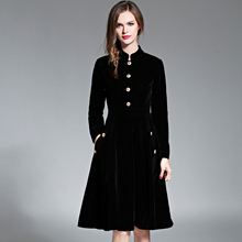 أسود Vintage فستان المرأة أنيقة ضئيلة بأكمام طويلة المخملية فستان الحفلات Ol مكتب ارتداء 2017 جديد الخريف الشتاء رداء طويل Vestidos