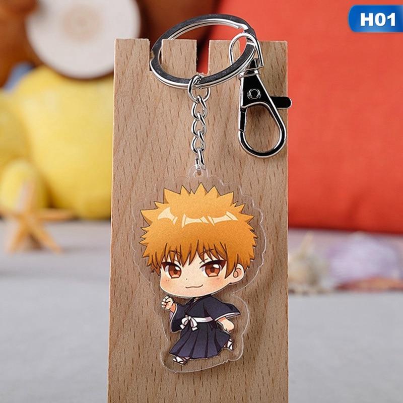 Japan Anime BLEACH Kuchiki Byakuya Acrylic Key Ring Pendant Keychain Gift