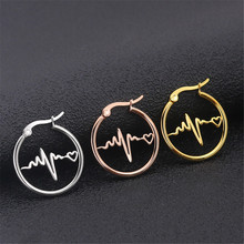 Fashion titanium steel round earrings stainless geometric ECG female gold jewelry accesories women gifts