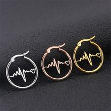 Fashion titanium steel round earrings stainless steel geometric ECG earrings female gold jewelry accesories women gifts