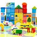 62 Unids city traffic building Niños coloridos Bloques de madera juguetes de los niños Juguete de Interior Al Aire Libre Juegos de madera de juguete CU96