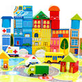 62Pcs  city  traffic  building  wooden  toys children's  Kids colorful  Blocks  Toy  Indoor Outdoor Games  wooden  toy    CU96