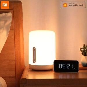 Image 1 - Xiaomi mijia lâmpada de cabeceira 2, lâmpada inteligente, luz noturna led, colorida, 400 lúmens, bluetooth, wi fi, controle por toque, para apple homekit siri