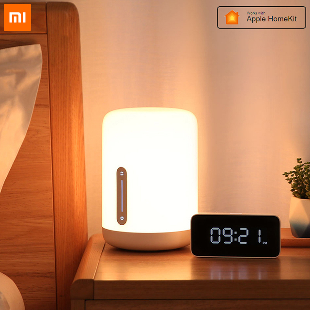 Xiaomi mijia lâmpada de cabeceira 2, lâmpada inteligente, luz noturna led, colorida, 400 lúmens, bluetooth, wi fi, controle por toque, para apple homekit siri