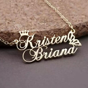 цена на Custom Two Names Necklace For Women WIth Butterfly Bijoux Femme Crawn Chokers Personalized Double Names Necklace with Crawn BFF