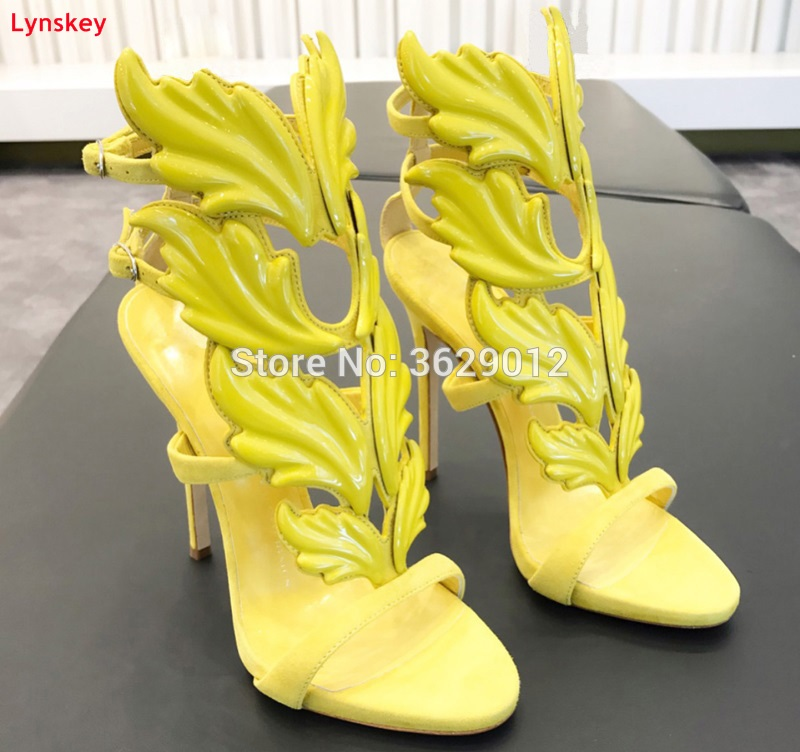 Lynskey Summer Women High Heels Winged Leaves Cut-outs Stiletto Heel Gladiator Sandals Flame Party Sandal Shoes Woman 2015 new deluxe brand 100% high quality flat summer women knee high gladiator sandals genuine leather cut outs cover heel shoes