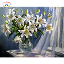lily flowers diy hand painted draw pictures by numbers wall art paintings decoration living room canvas prints poster RA3108(China)