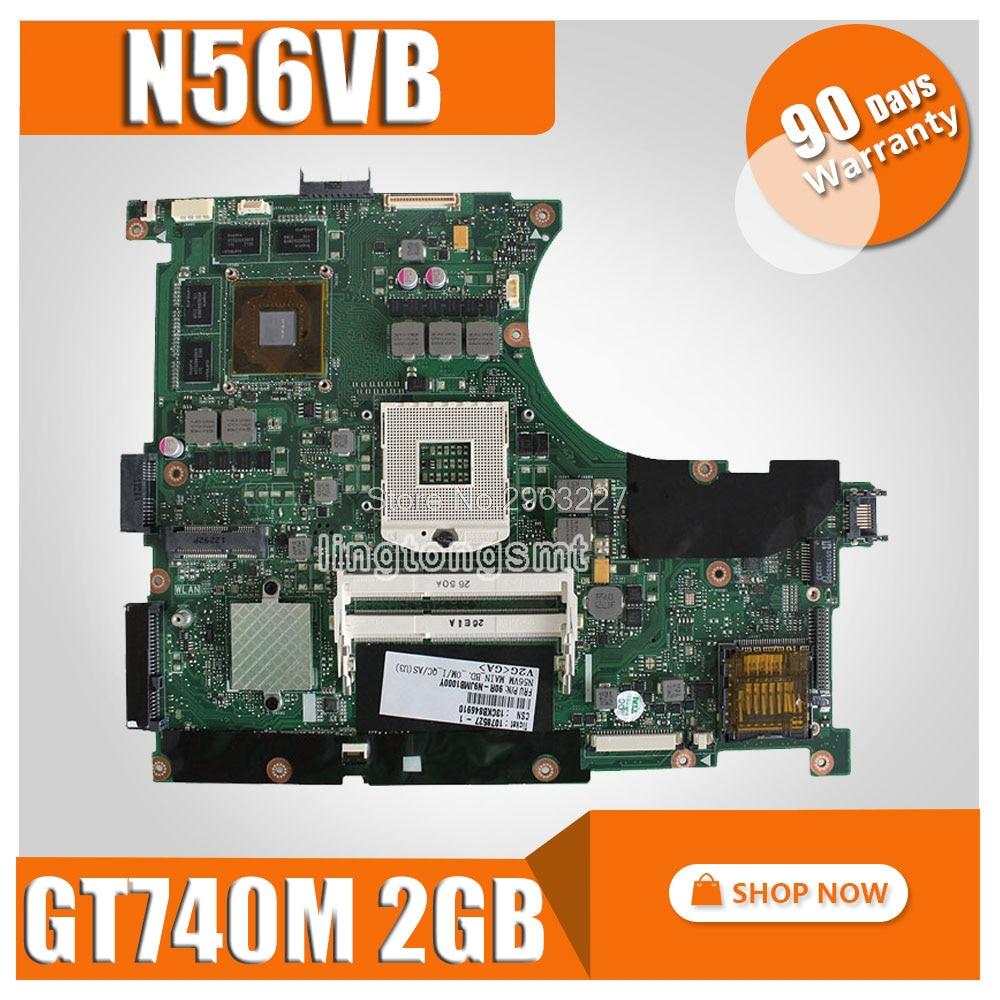 N56VB Motherboard Rev 2.0 GT740M 2G For ASUS N56VM N56VJ N56VZ N56V N56VB Laptop motherboard N56VB Mainboard N56VB Motherboard цена