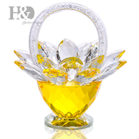 H&D Crystal Flower Basket Crystal Collectible Figurines Ornaments for Home Decor Table Centerpiece