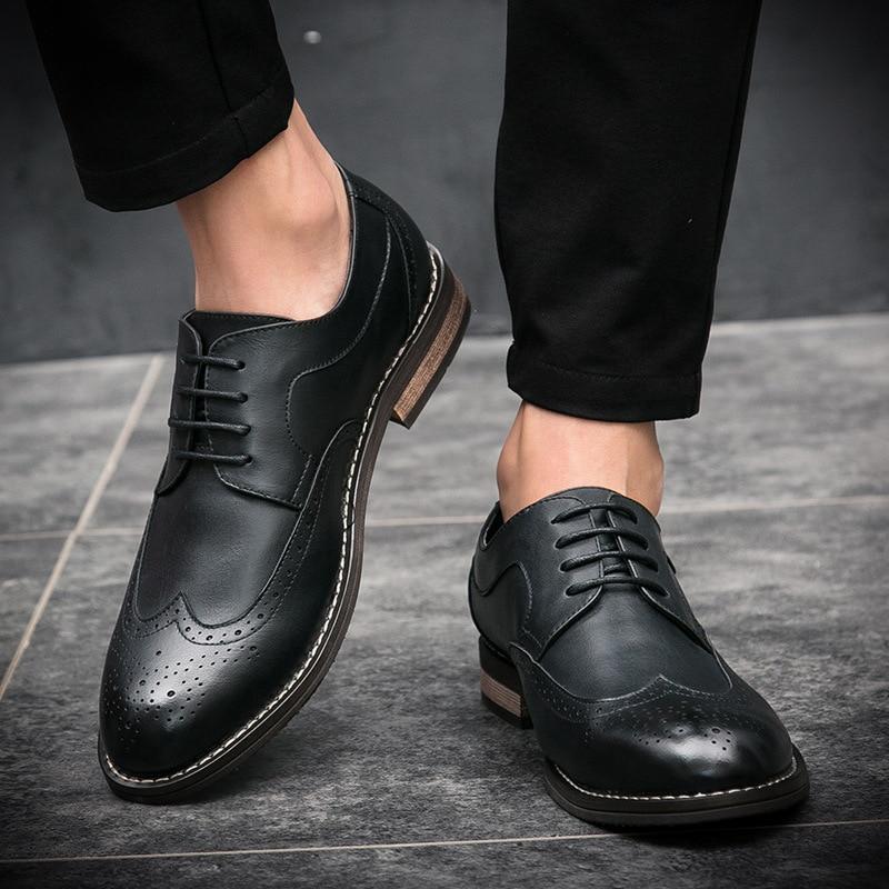 Chaussures chocolat Britannique Style Tendance 2018 Noir Confortable Casual Automne Cuir Mode La Formelle Hommes Nouvelle De En ar7wqaC