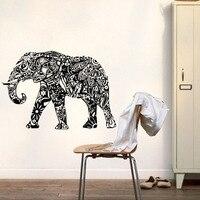 Indian Elephant Wall Stickers Mandala Pattern Animals Wall Decals Bedroom Wall Decor Art Murals