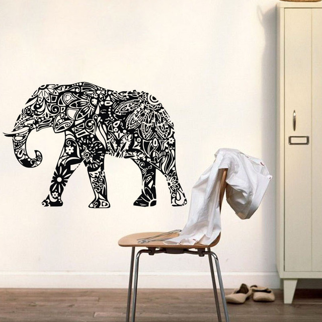 Indian Elephant Wall Stickers Mandala Pattern Animals Wall Decals Bedroom  Wall Decor Art Murals