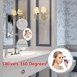 Image 4 - 360 rotasyon 10X büyüteç makyaj aynası LED sisesiz vantuz duş tıraş makyaj sis ücretsiz ayna