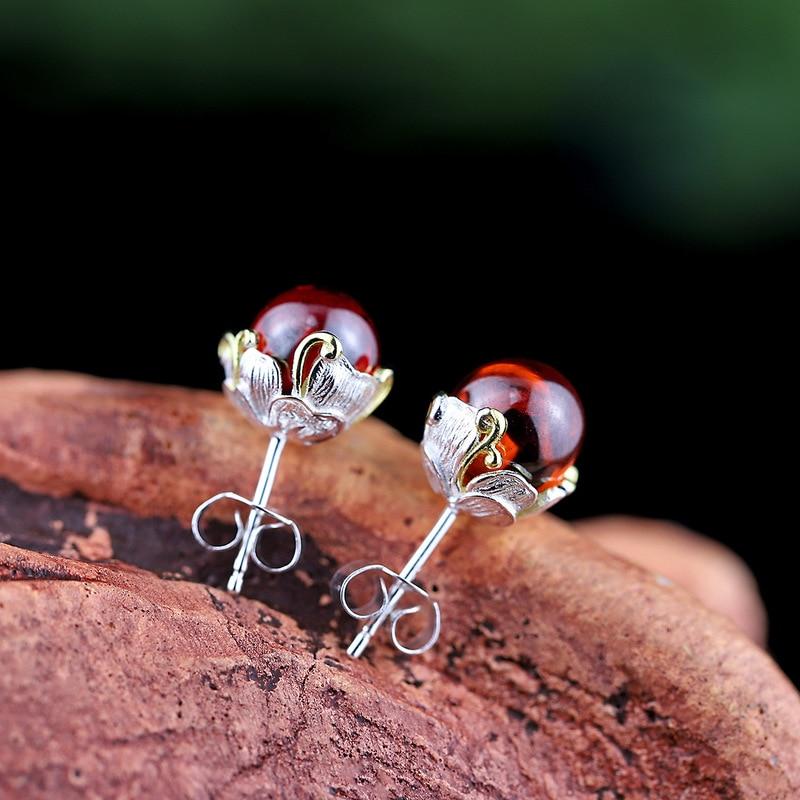 Real Sterling Silver 925 Earrings Natural Stone Red Garnet Geometric Stud Earrings For Women Fashion Trendy Jewelry
