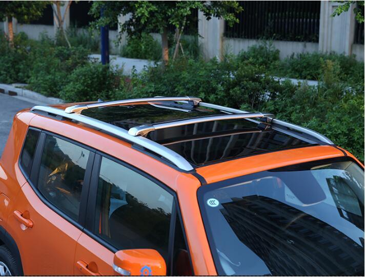 2 Pezzi Adatti Per Jeep Renegade 2015 2016 2017 2018 2019 2020 Alluminio Tetto Ferroviario Tetto Rack Barra Laterale Argento