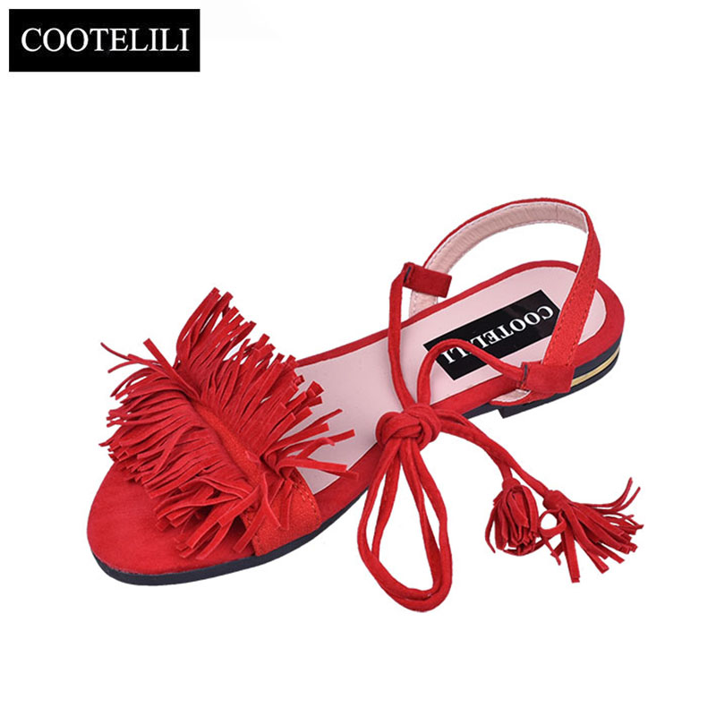 COOTELILI Shoes Woman Fashion Tassel Straps Flat Sandals For Women Flip-flops Women Summer Beach Shoes Black Green Red 35-40