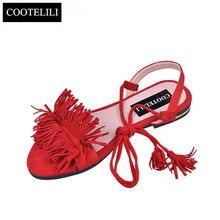 COOTELILI Shoes Woman Fashion Tassel Straps Flat Sandals For Women Flip-flops Women Summer Beach Shoes Black Green Red 35-40