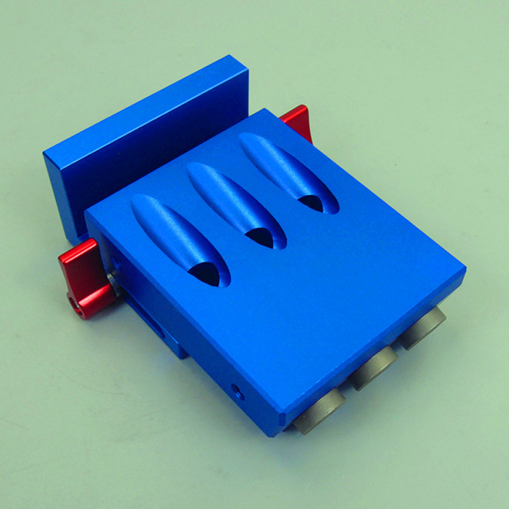 Pocket 3 Holes Aluminium Alloy Oblique Hole Jig Kit System for Wood Working Punch Locator with 9.5mm Puncher Woodworking Tool high strength and hardness professional tools aluminium alloy punch locator woodworking tool z35