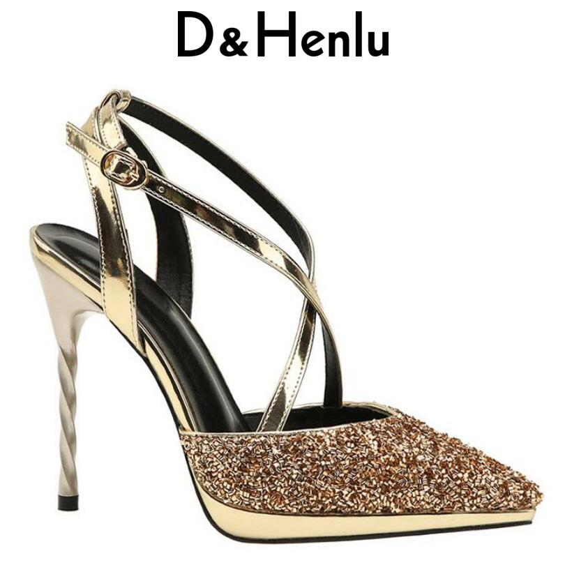 {D&Henlu} Women Ladies Sexy Pumps Shoes Woman Pumps With Ankle Strap Gold Shoes Woman High Heel Sexy Pump And High Heels Party цена