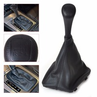 Black 4 Speed Gear Stick Shift Knob PU Leather Gaiter Boot Cover For Mercedes Benz W123