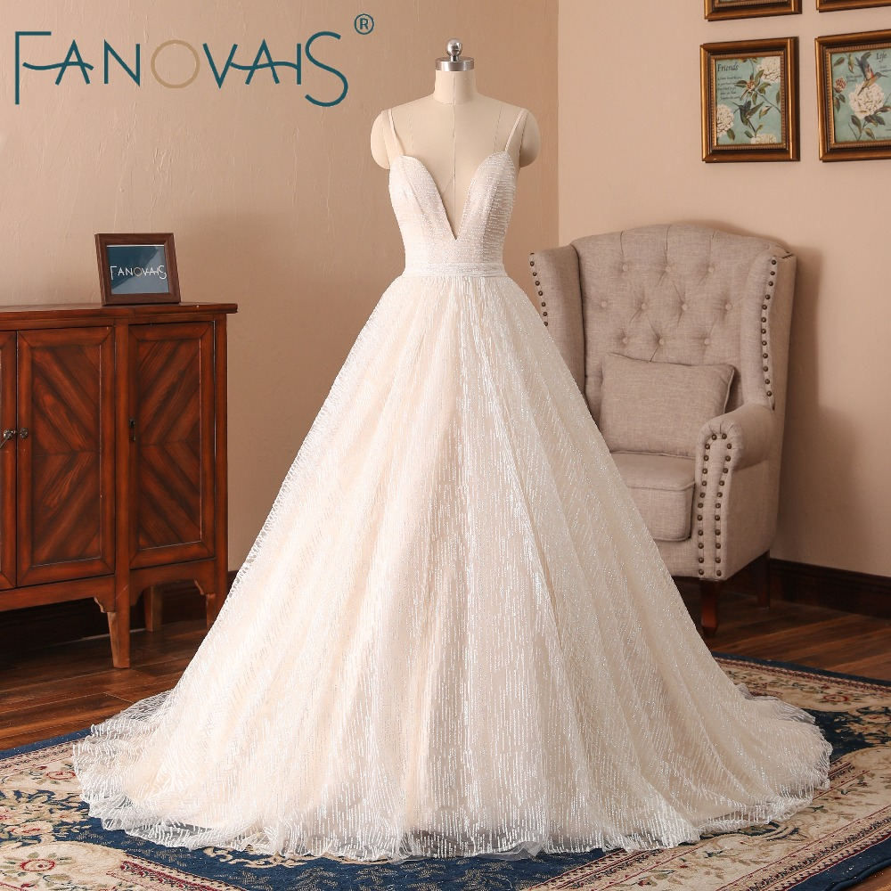 Glitter Lace Wedding Dresses Deep V Backless Sexy Bridal
