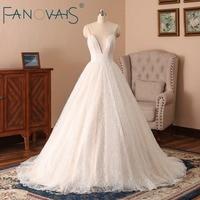Glitter Lace Wedding Dresses Deep V Backless Sexy Bridal Gowns Vestido de Novia Vintage Beach Wedding Dress 2018