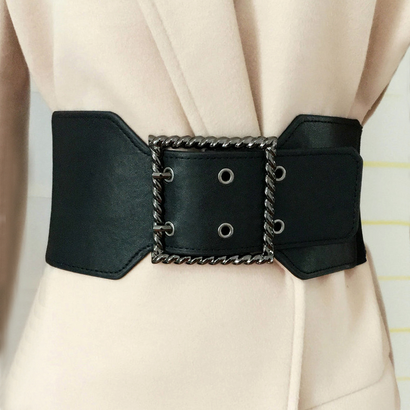 wide 10cm elastic   Belt   Women Vintage Metal Leather Double Buckle Waist   Belt   Waistband Elastic PU Corset   Belt   Cummerbunds Female