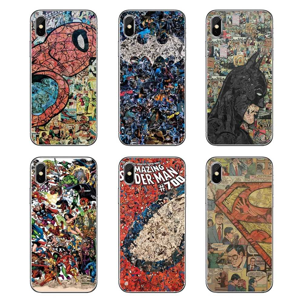 For iPod Touch iPhone 4 4S 5 5S 5C SE 6 6S 7 8 X XR XS Plus MAX dc comic spiderman superheroes jakeru Transparent Clear TPU Case