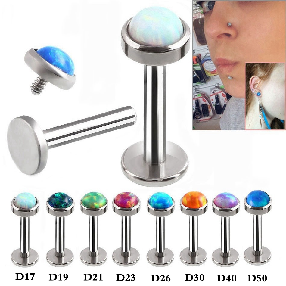 Stud-Nose Piercing Captive Silver Titanium-Steel Cartilage Bead-Rings Jewelry Ear-Tragus