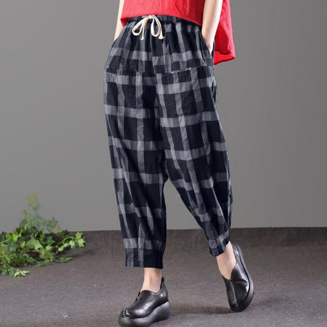 Women Elastic Waist Palid Check Drawstring Baggy Harem Pants Loose Retro Pockets Pantalon Pencil Trousers Plus Size
