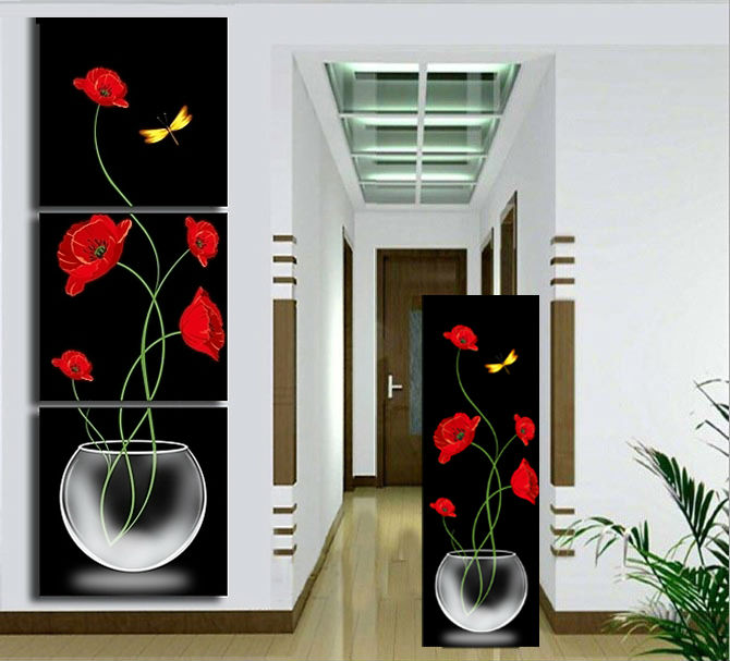Buy 3 panels painting wall hanging canvas for Cuadros verticales grandes