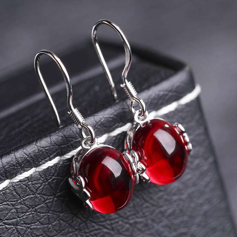 JYouHF Mode Red Korundum Batu Set Perhiasan Oval Berbentuk Kalung - Perhiasan fashion - Foto 3