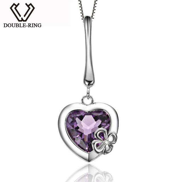 DOUBLE-R Real Mulheres Natural Ametista Pingente de Prata 925 Colares de Pingente de Coração o Amor Romântico Presente Fine jewelry Presente Mãe