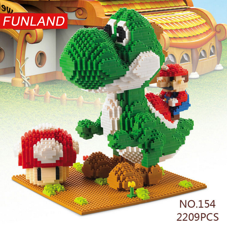 Funny game figures super mario bros micro diamond building block Yoshi dinosaur nanoblock 2209PCS model brick toys for kid gifts
