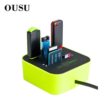 OUSU Multi USB Hub 2.0 3 Ports Card Reader SD TF M2 MMC All in One Hab Splitter For Notebook Computer PC Accessories