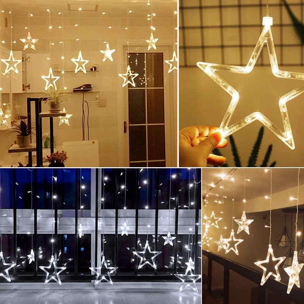 220 В светодиодный гирлянда, гирлянда, лампочки, шар, пентаграмма, мерцание, занавеска, декор, гирлянда для дома, Рождества, свадьбы, вечеринки, наружная гирлянда