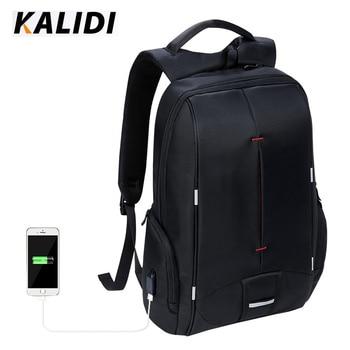 KALIDI防水メンズラップトップバックパック15.6インチビジネストラベルファッションブラックノートバックパックスクールバッグMochilas Hombresラップトップバッグ